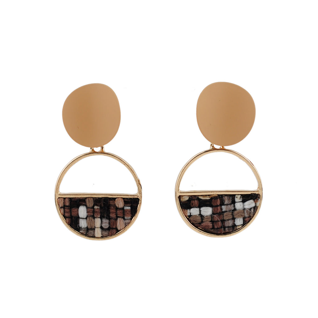 Gold Tweed Plated Round Earrings