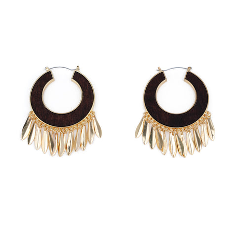 Western Gold Hoop Round Earrings
