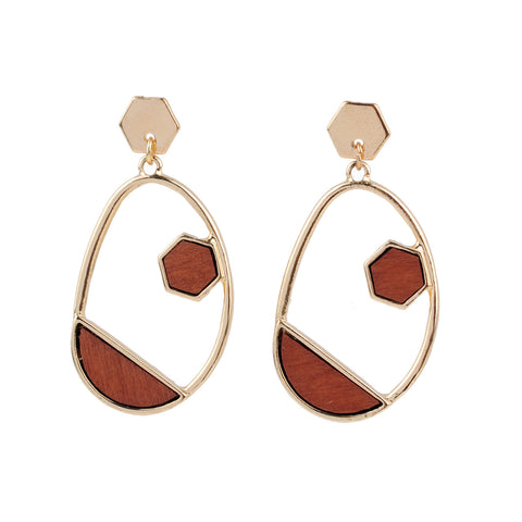 Oval Hoop Gold and Wood Faux Earrings