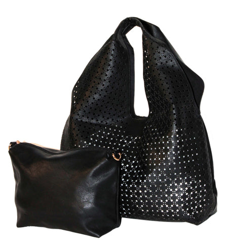 The Ana Laser Cut Shoulder Hobo - Black - Ampere Creations