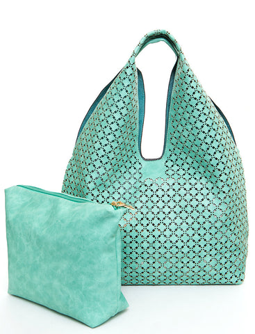 The Ana Laser Cut Shoulder Hobo - Mint