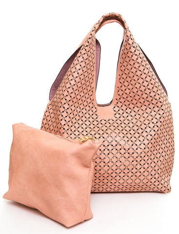 The Ana Laser Cut Shoulder Hobo - Nude - Ampere Creations