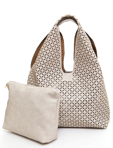 The Ana Laser Cut Shoulder Hobo - Beige - Ampere Creations