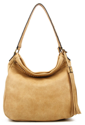 The Andi Braided Stitch Hobo - Sand