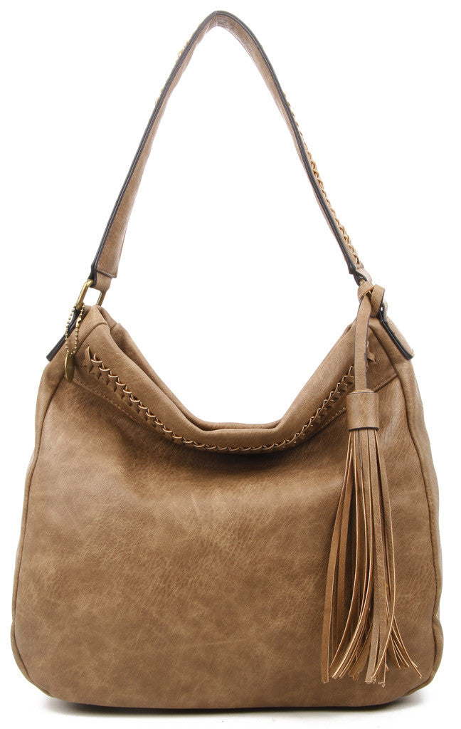 The Andi Braided Stitch Hobo - Shiitake Brown - Ampere Creations