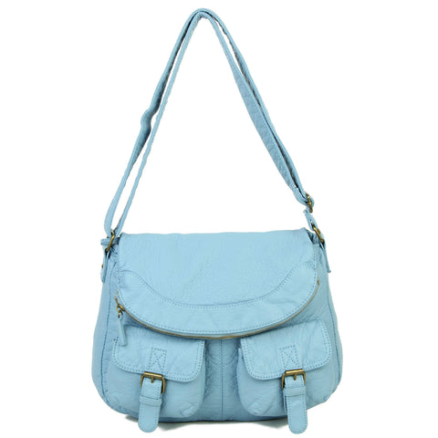 The Annabell Messenger Crossbody - Baby Blue - Ampere Creations