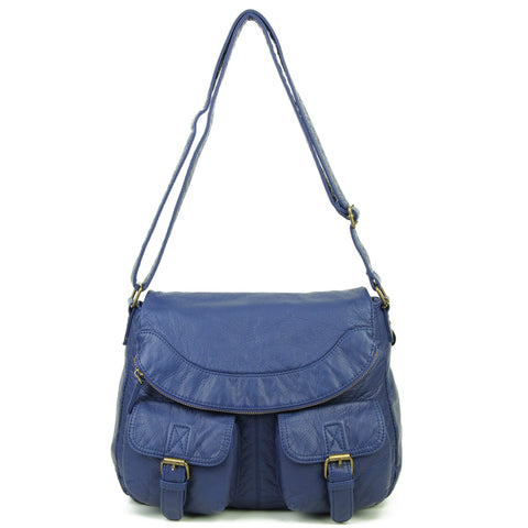 The Annabell Messenger Crossbody - Navy Blue - Ampere Creations