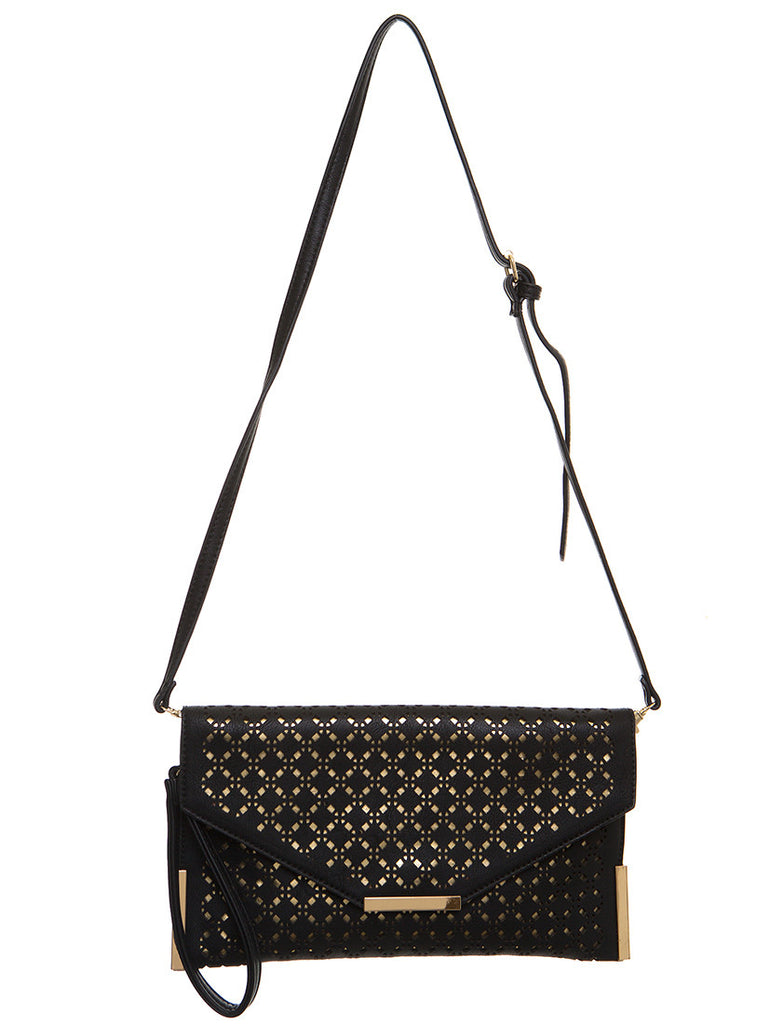 The Ana Laser Cut Messenger - Black - Ampere Creations