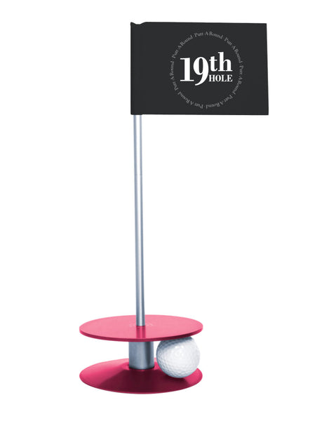 Putt-A-Round 19th Hole Flag with pink base - The perfect golf gift