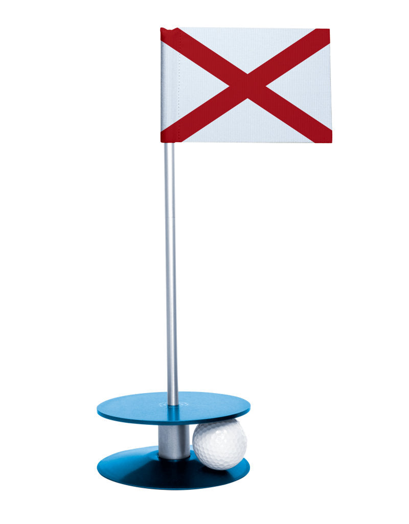 Alabama State Flag Putt-A-Round with a blue base. Improve your short game.