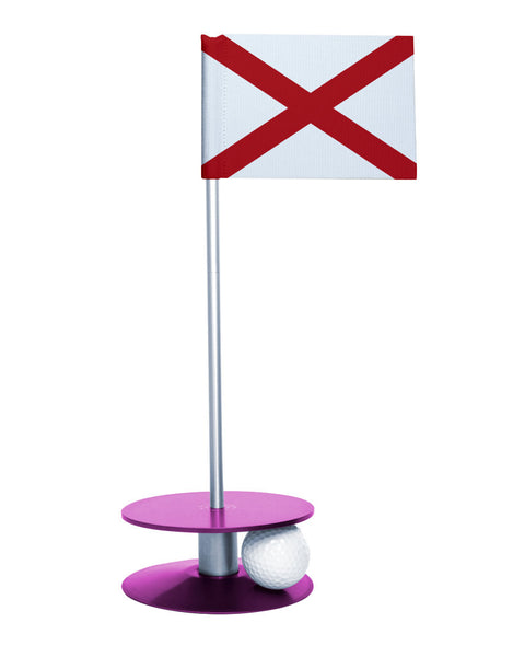 Alabama State Flag Putt-A-Round with a purple base. Improve your short game.