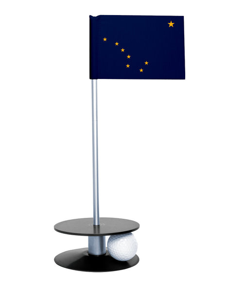 Alaska State Flag Putt-A-Round with a black base. Improve your short game.
