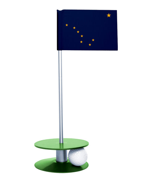 Alaska State Flag Putt-A-Round with a green base. Improve your short game.