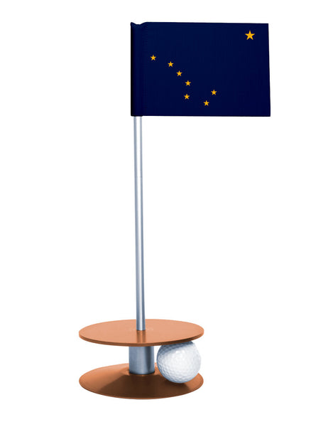 Alaska State Flag Putt-A-Round with an orange base. Improve your short game.