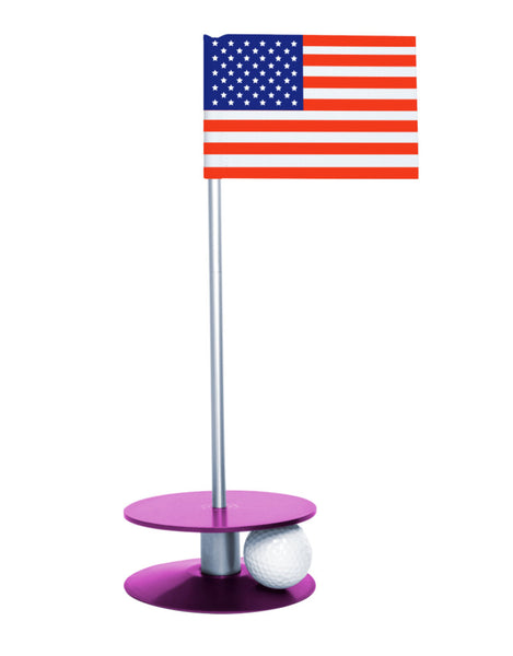 Putt-A-Round American Flag with Purple Base - A great gift for those who love golf and the USA