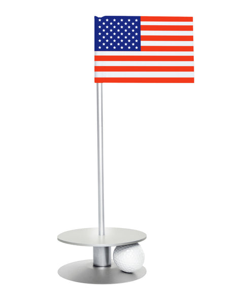 Putt-A-Round American Flag with Silver Base - A great gift for those who love golf and the USA