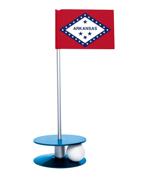Arkansas State Flag Putt-A-Round with a blue base. Improve your short game.