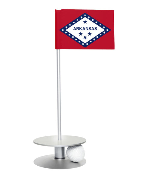 Arkansas State Flag Putt-A-Round with a silver base. Improve your short game.
