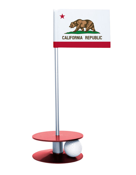 California State Flag Putt-A-Round with a red base. Improve your short game.