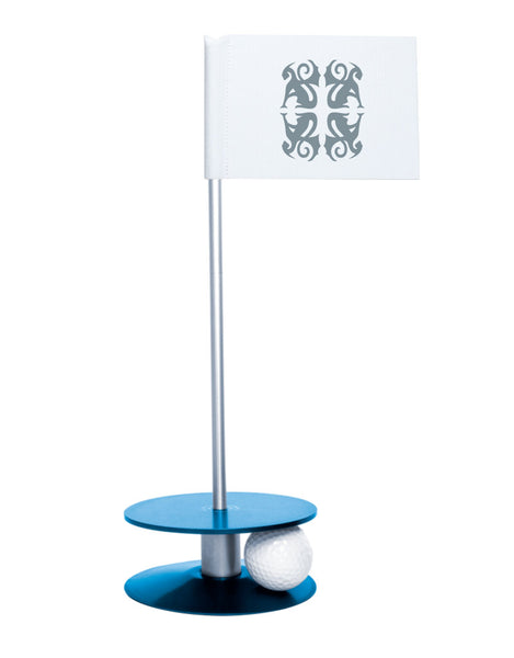 Putt-A-Round Classic Flag Putting Aid with Blue Base - An elegant solution to perfect your golf short game