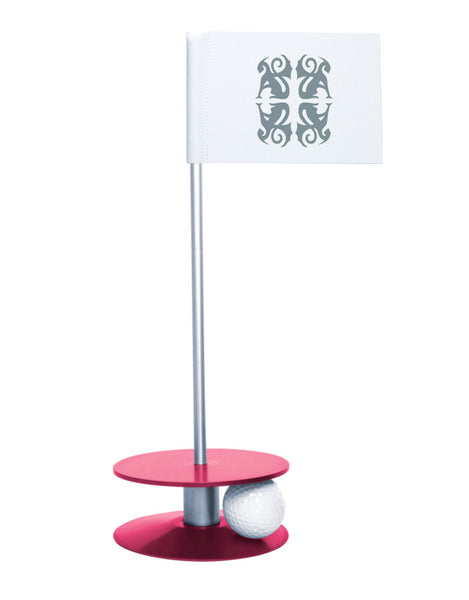 Putt-A-Round Classic Flag Putting Aid with Pink Base - An elegant solution to perfect your golf short game