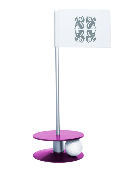 Putt-A-Round Classic Flag Putting Aid with Purple Base - An elegant solution to perfect your golf short game
