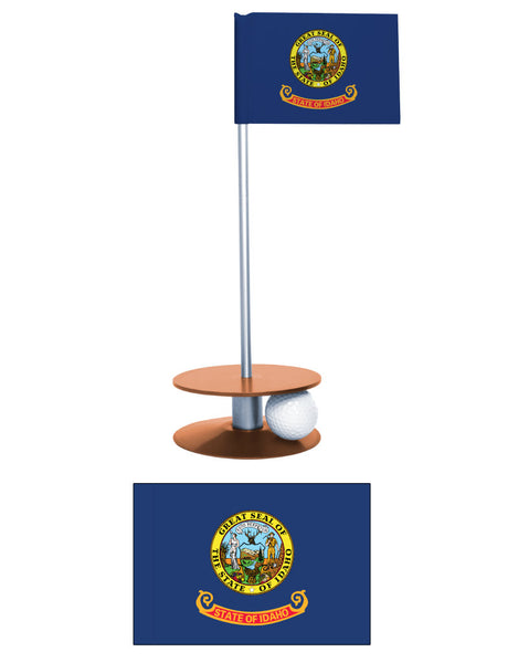Idaho State Flag Putt-A-Round putting aid. Improve your short golf game. A fantastic gift or give-a-way.