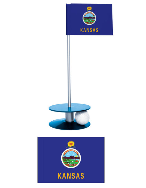 Kansas State Flag Putt-A-Round Putting Aid. Helps improve your short golf game. A great golf gift or giveaway.