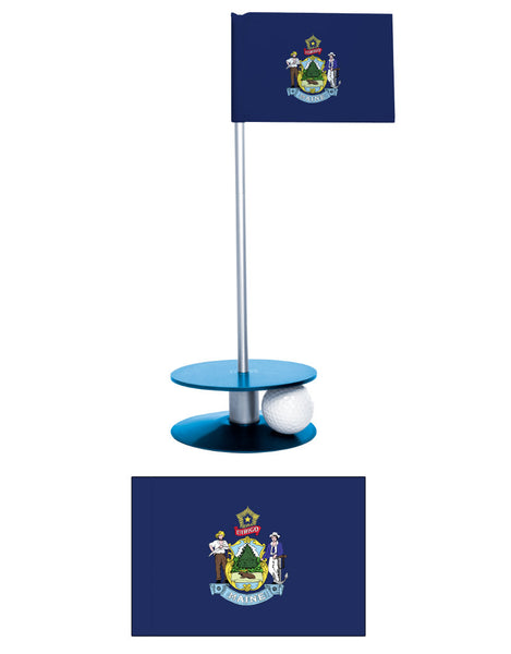 Maine State Flag Putt-A-Round putting aid. A unique gift. Improve your golf score.