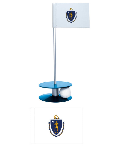 Massachusetts State Flag Putt-A-Round putting aid. Fun gift or giveaway. Improve your golf short game.