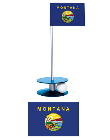 Montana State Flag Putt-A-Round putting aid. Improve your golf score. Makes a great gift or giveaway.
