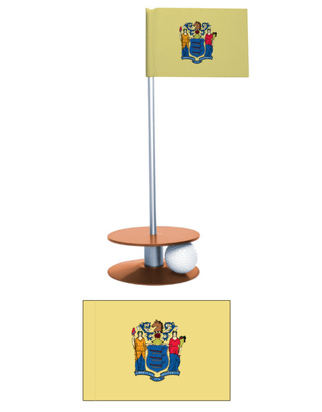 New Jersey State Flag Putt-A-Round putting aid. Have fun while improving your golf game. A unique gift or giveaway.
