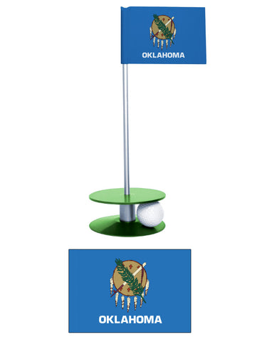 Oklahoma State Flag Putt-A-Round Putting Aid. Improve your golf short game. Make a great gift.