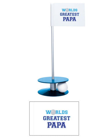 Putt-A-Round Putting Aid Worlds Greatest Papa Flag Collection - an awesome golf gift to help your papa's short game