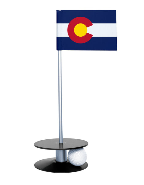 Colorado State Flag Putt-A-Round with a black base. Great way to improve you putting game.