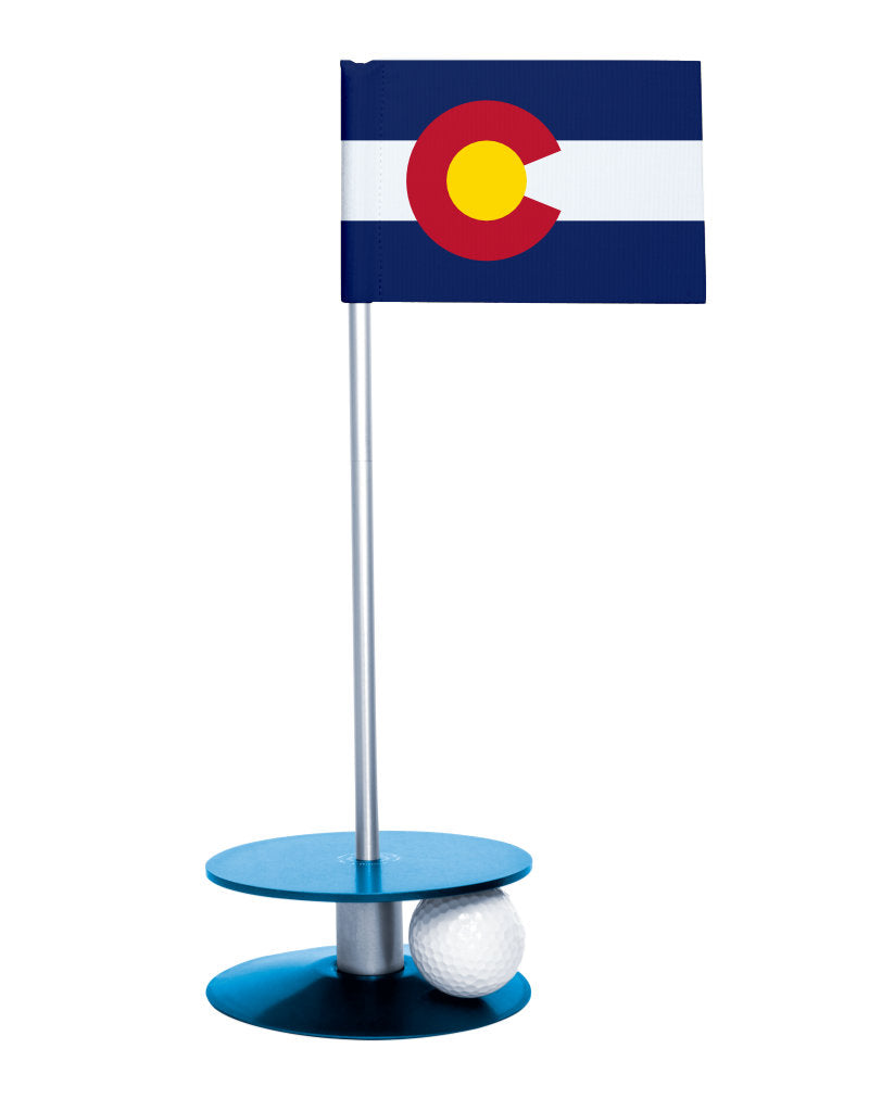 Colorado State Flag Putt-A-Round with a blue base. Great way to improve you putting game.