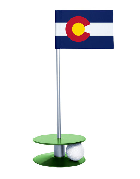 Colorado State Flag Putt-A-Round with a green base. Great way to improve you putting game.