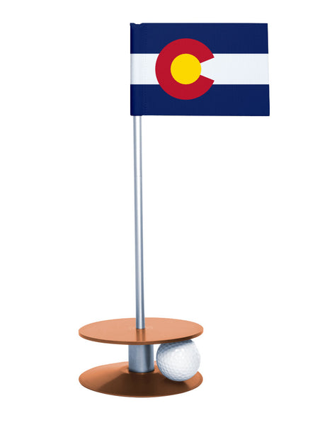 Colorado State Flag Putt-A-Round with an orange base. Great way to improve you putting game.