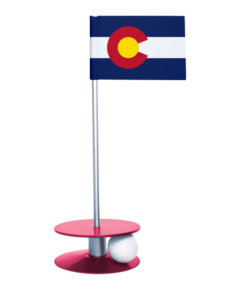 Colorado State Flag Putt-A-Round with a pink base. Great way to improve you putting game.