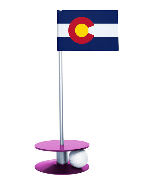 Colorado State Flag Putt-A-Round with a purple base. Great way to improve you putting game.