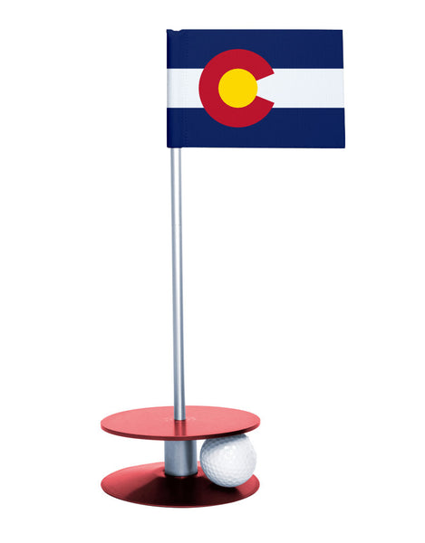 Colorado State Flag Putt-A-Round with a red base. Great way to improve you putting game.