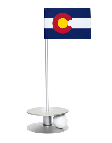 Colorado State Flag Putt-A-Round with a silver base. Great way to improve you putting game.