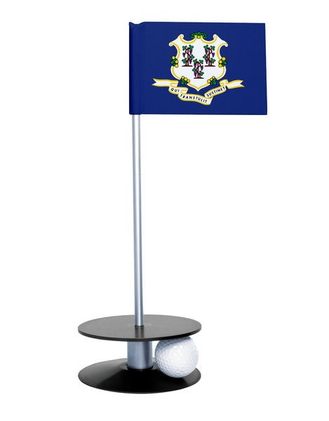 Connecticut State Flag Putt-A-Round with a black base. Great way to improve your putting game.