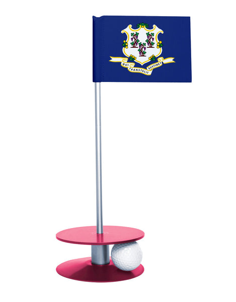Connecticut State Flag Putt-A-Round with a pink base. Great way to improve your putting game.