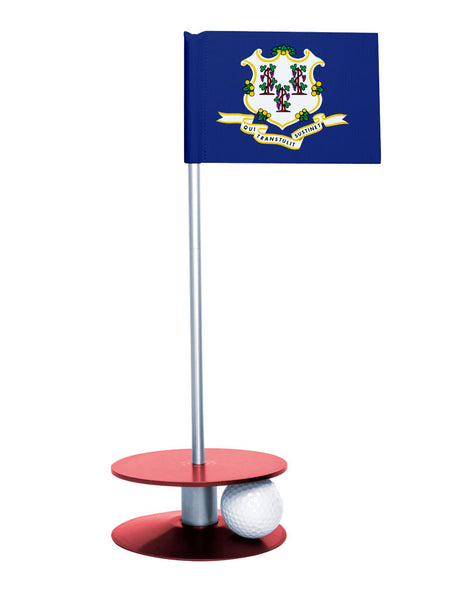 Connecticut State Flag Putt-A-Round with a red base. Great way to improve your putting game.