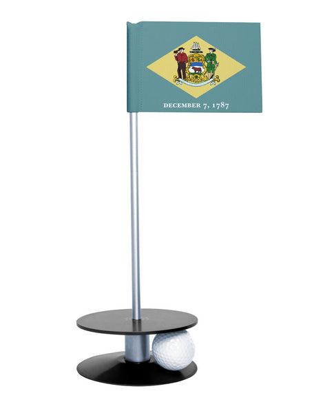 Delaware State Flag Putt-A-Round with a black base. Great way to improve your short golf game.