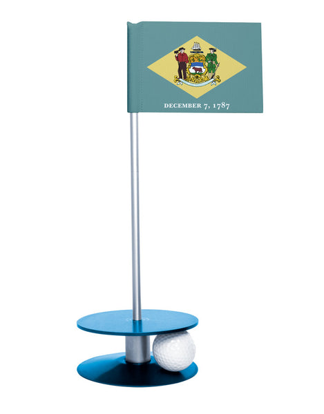Delaware State Flag Putt-A-Round with a blue base. Great way to improve your short golf game.