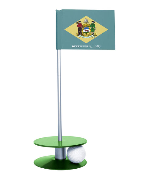 Delaware State Flag Putt-A-Round with a green base. Great way to improve your short golf game.