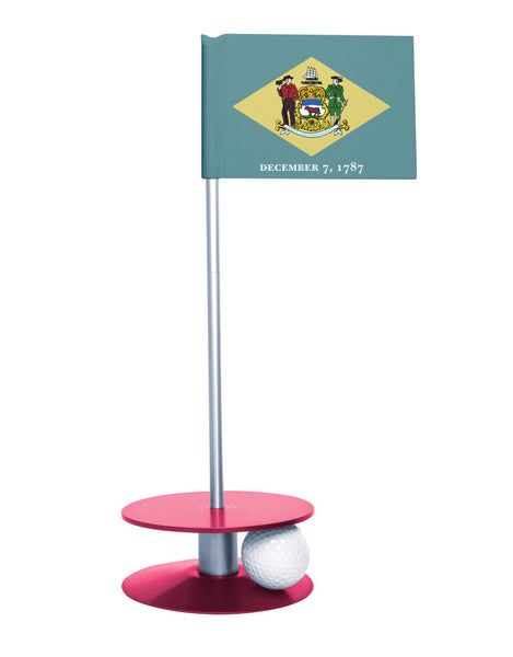 Delaware State Flag Putt-A-Round with a pink base. Great way to improve your short golf game.