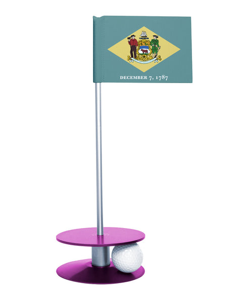 Delaware State Flag Putt-A-Round with a purple base. Great way to improve your short golf game.